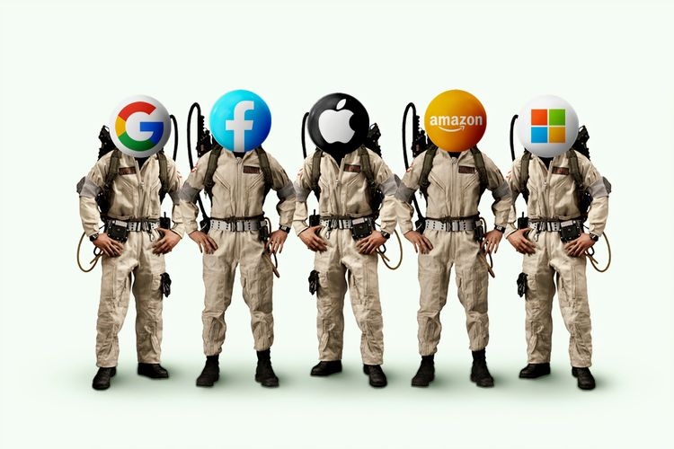 ghostbusters with replacement heads of google, facebook, apple, amazon and windows