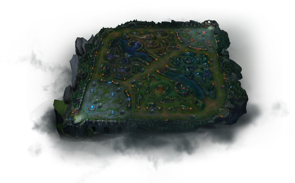 League of Legends hat eine typische MOBA-Map mit zwei Basen, Dschungel und drei Lanes.