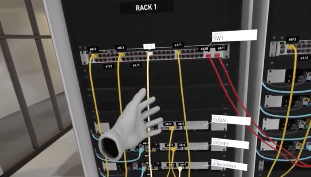 Using Rope Physics to Simulate Cabling a Data Center in VR