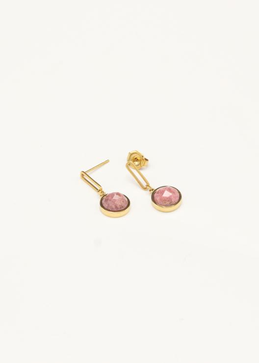 Oorbellen hanger met steen roze