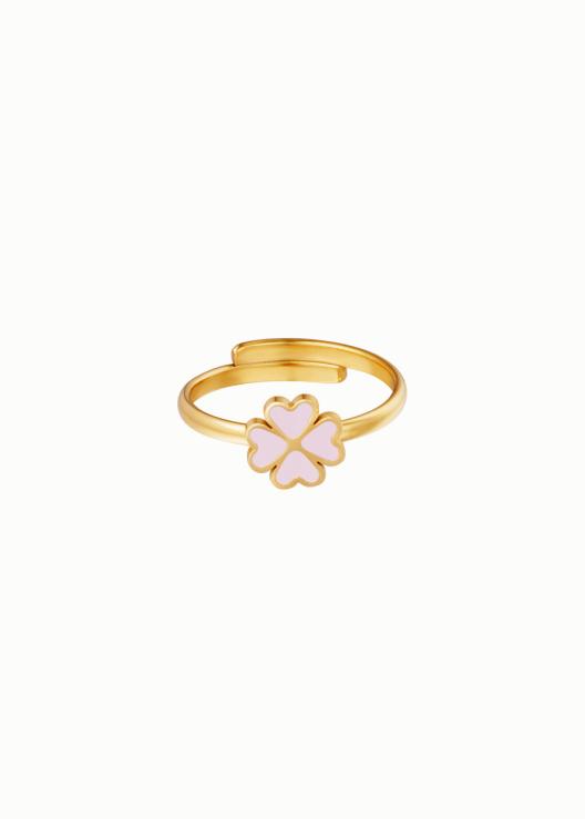 Ring met lila bloem