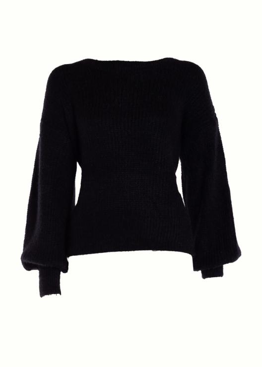 Zachte trui met ronde hals zwart