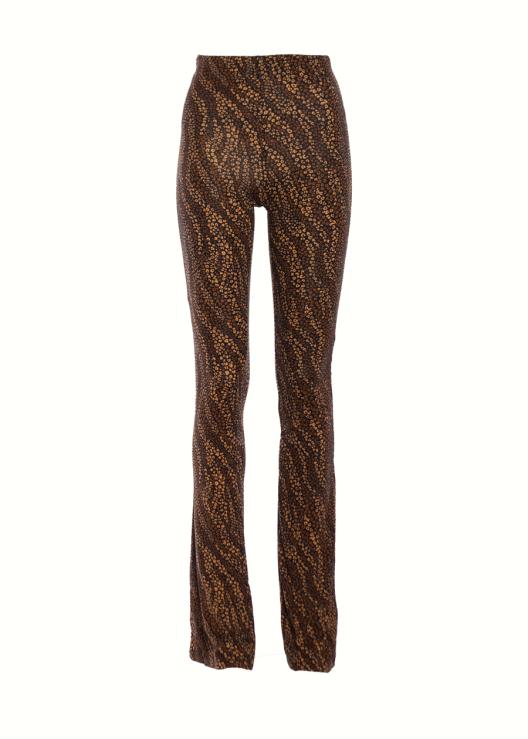 Flared broek Bloemetjes bruin