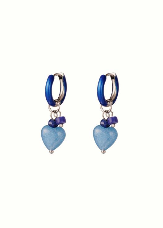 Oorbellen met blauw hartje