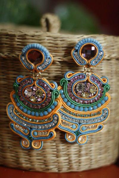 Blue -Orange Earring