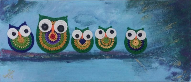 5 Owls Painting