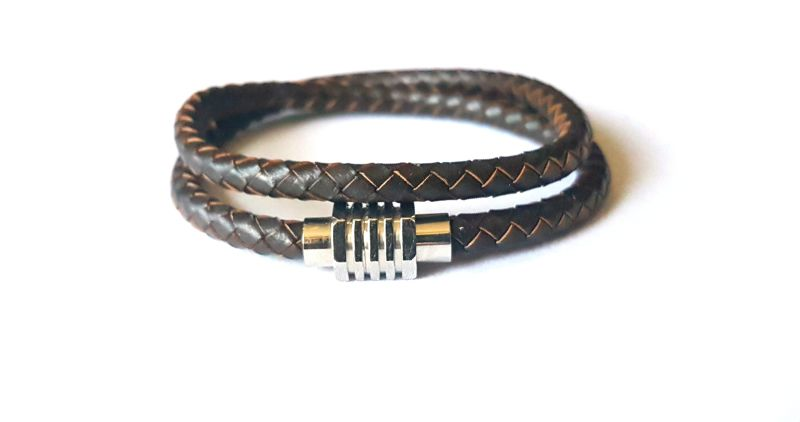 Brown Leather Bracelet with Stainless Magnetic Clasp
