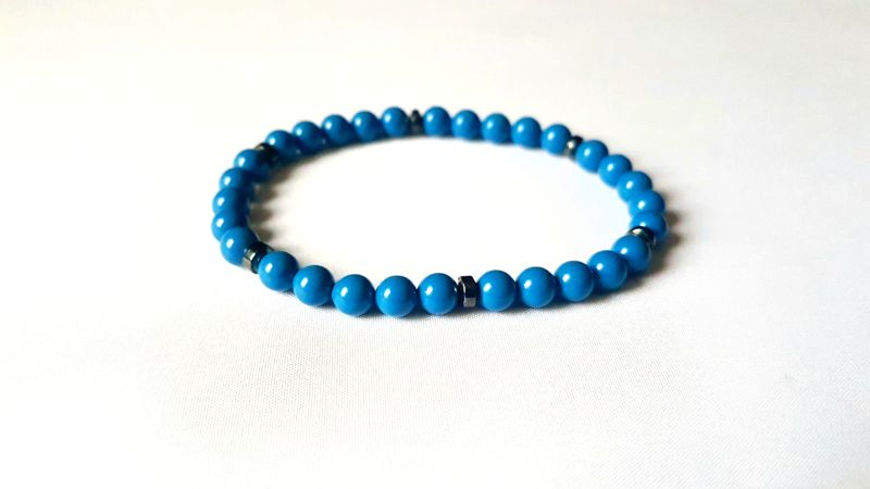 Swarovski Crystal Pearls Light Blue Bracelet For Him