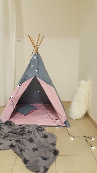 Teepee Tent - Premium Grey/Pink