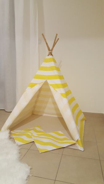 Teepee Tent - Simple Yellow-White