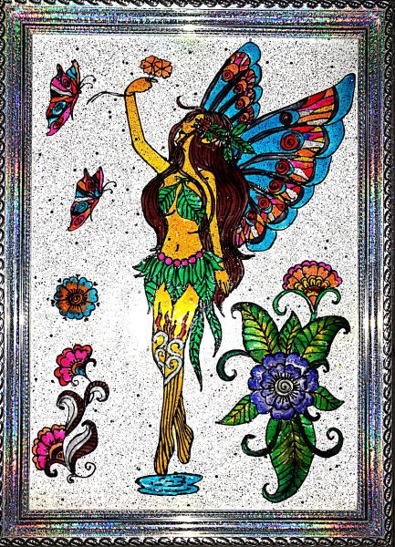 Glass paintings - butterfly girl
