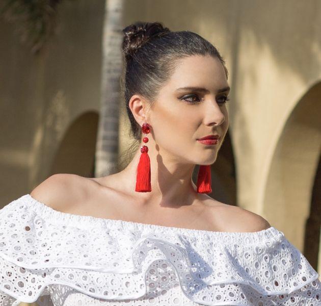 Red tassels earrings