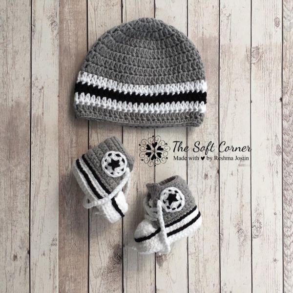 Go to Converse Inspired Crochet Baby Set/ Newborn gift/ Newborn Photoprop