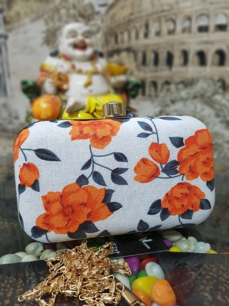 webhin orange fabric clutch