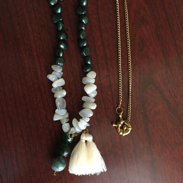 Olive Necklace with Tassels