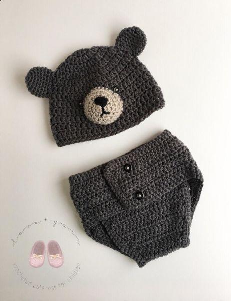 Crochet Bear Outfit - Photo Prop Set