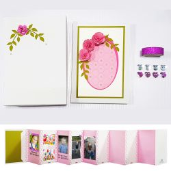 Go to Handmade Photobook with 3D Pink roses and pearls design