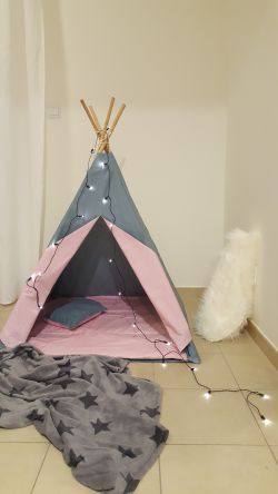 Go to Teepee Tent - Premium Grey/Pink