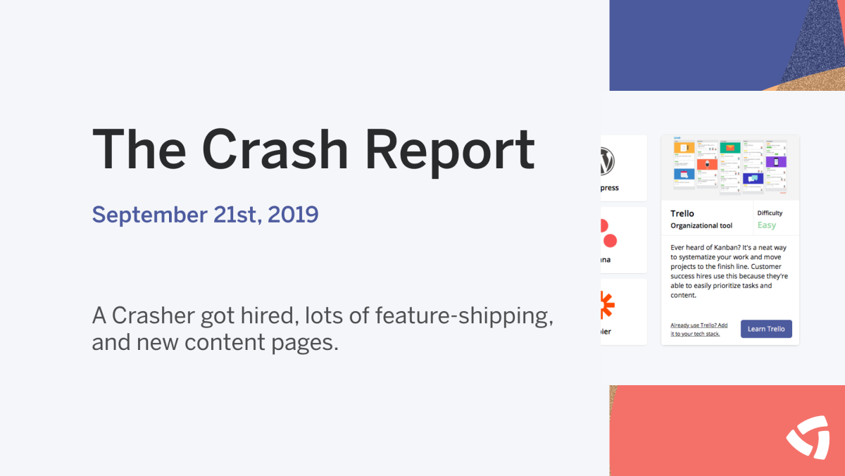 The Crash Report: September 21, 2019