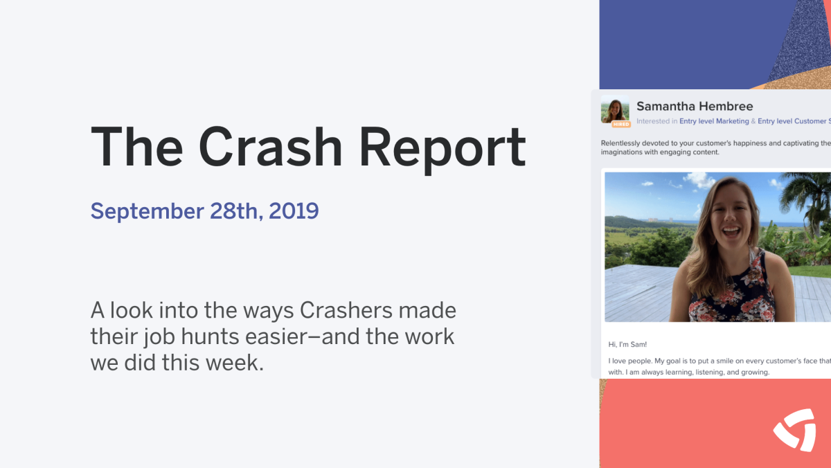 The Crash Report: September 28, 2019
