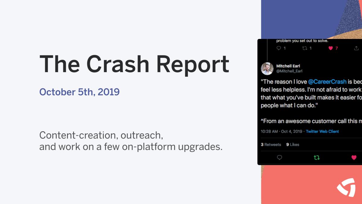 The Crash Report: October 5, 2019