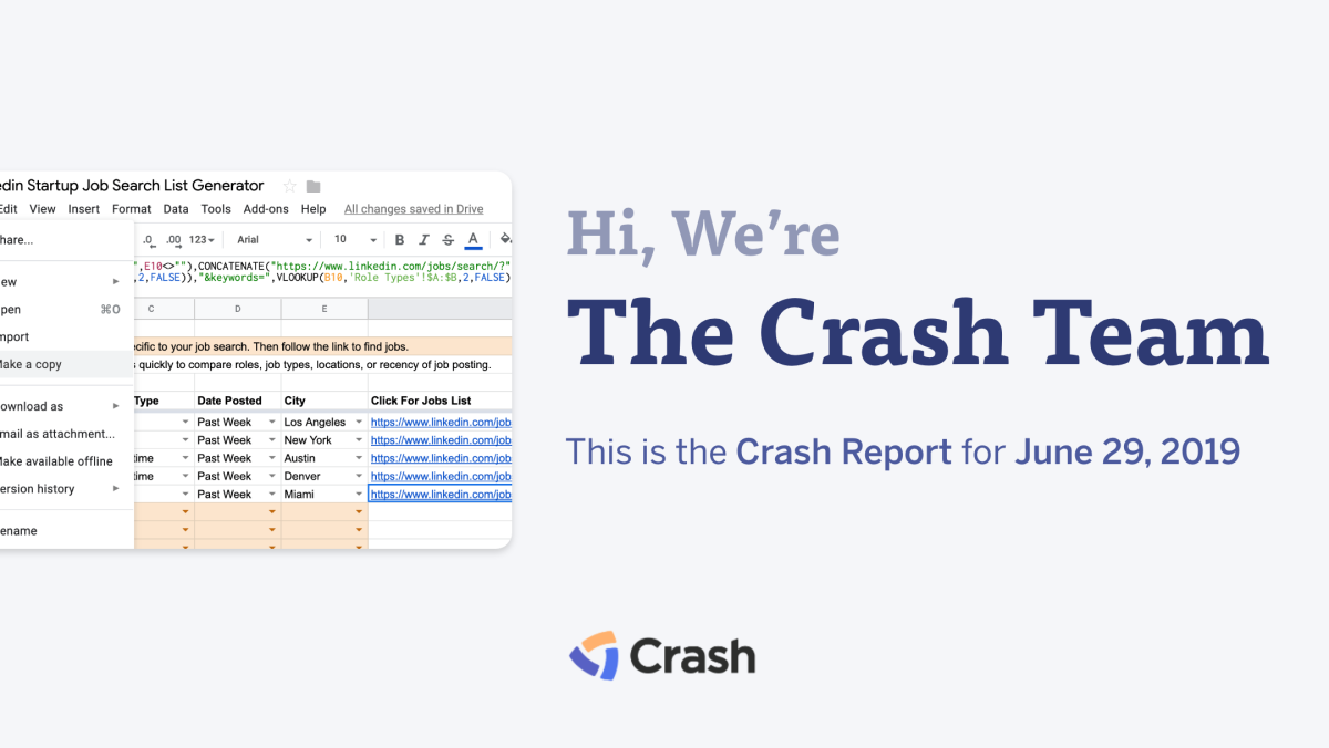 The Crash Report: June 29, 2019