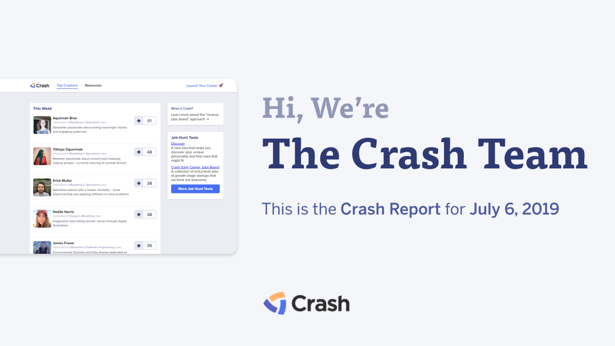The Crash Report: July 6, 2019