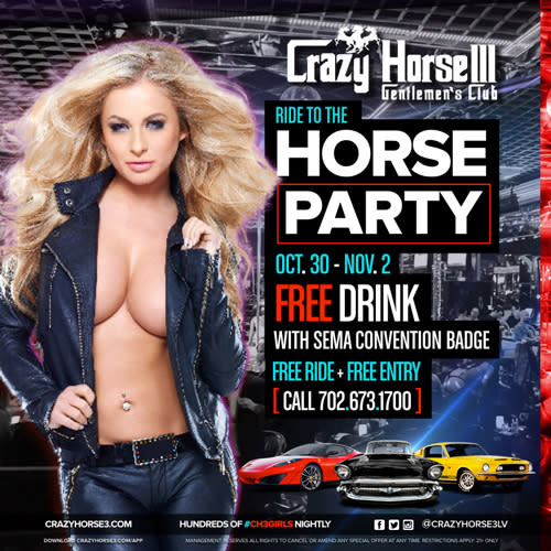Crazy Horse 3 Gentlemen's Club Ride to the Horse SEMA afterparty promo