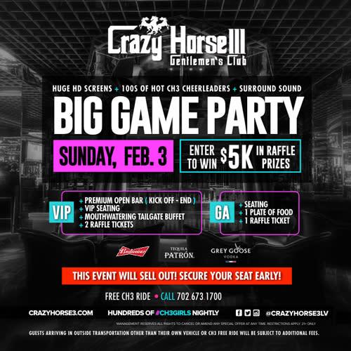 VIP Big Game Sunday<br/>February 3