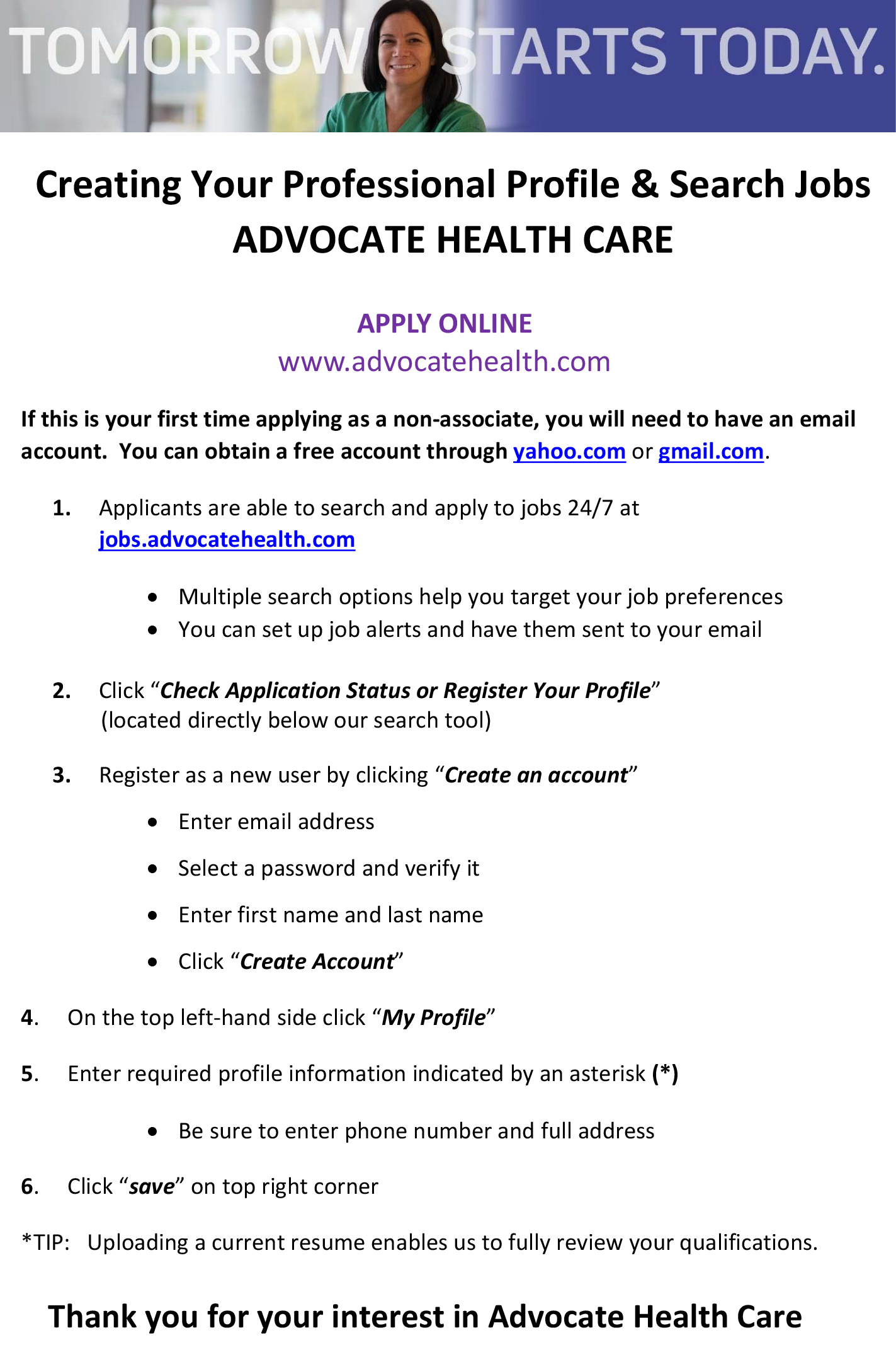 How to create a profile and apply to jobs at advocate health care qh4jey