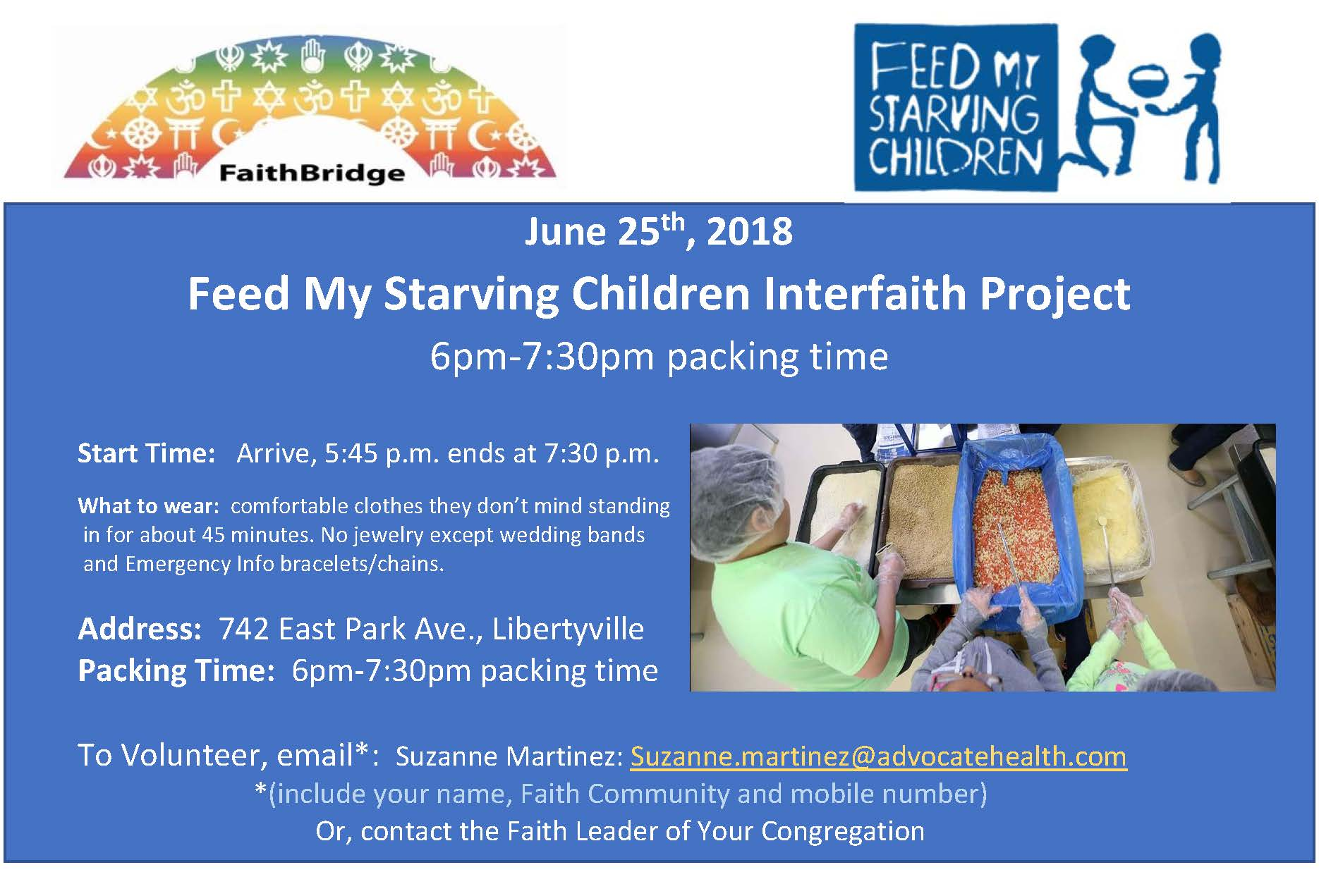 June 25th feed my starving children interfaith project flyer jodjla