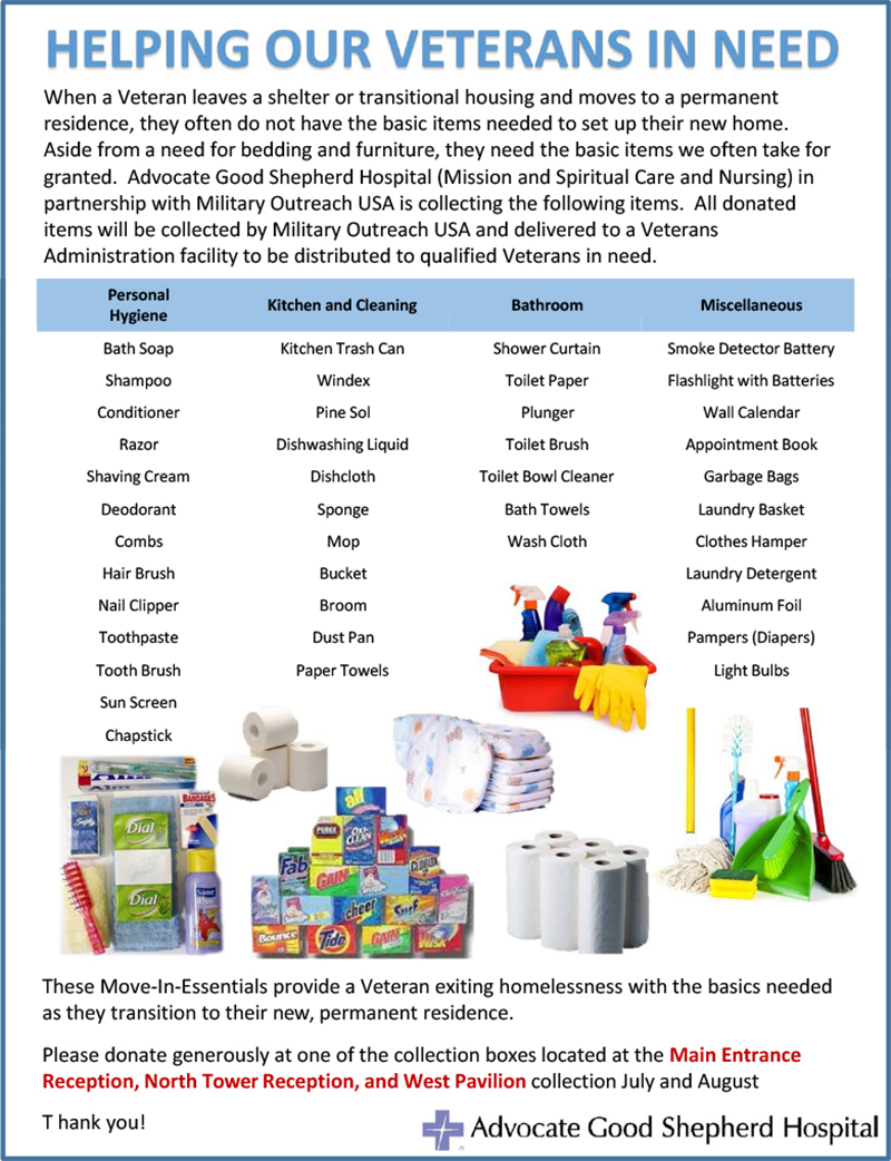 Flyer military outreach usa donations july august uhcfmq