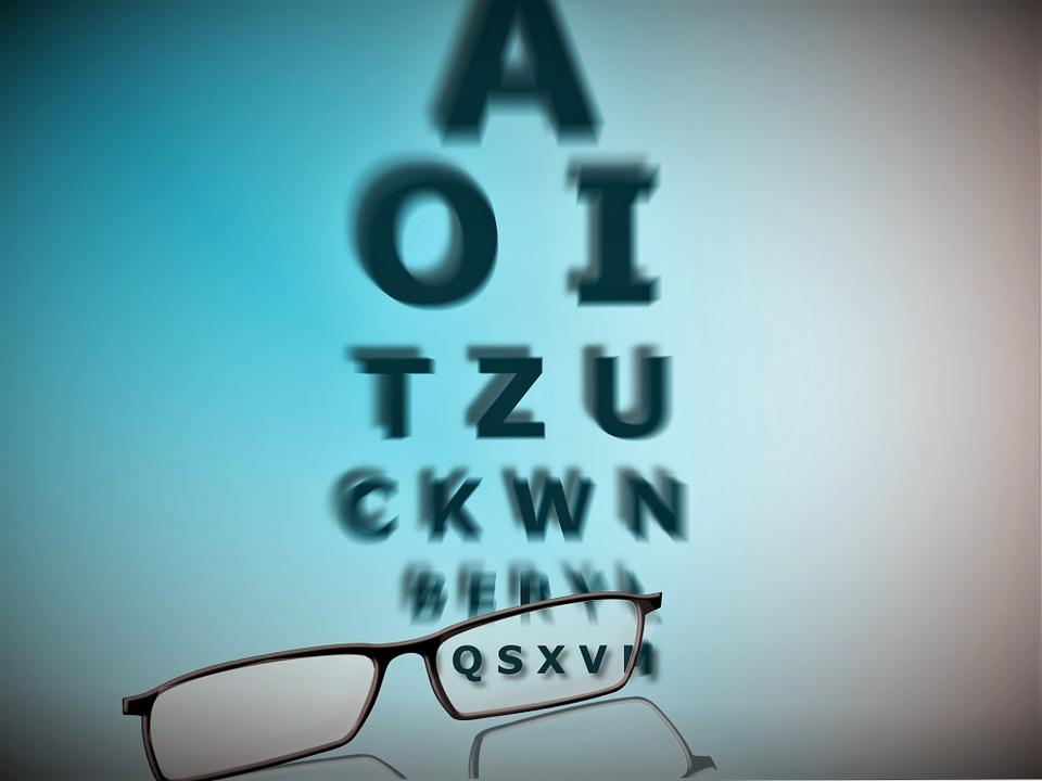 Rechtenvrij: Bril/oogmeting