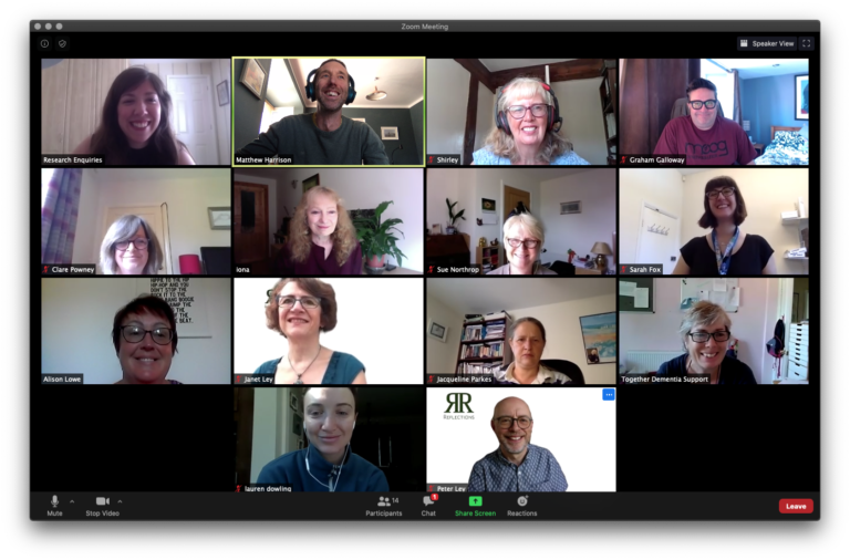 Screenshot of a zoom meeting with members of the Community Makers focus group