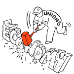 Issues - Unions and Labor - Republican position cartoon | Crowdpac
