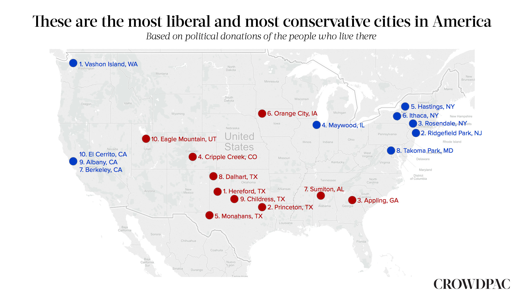 The Most Liberal And Conservative Cities In America Crowdpac - Us map of hippie towns
