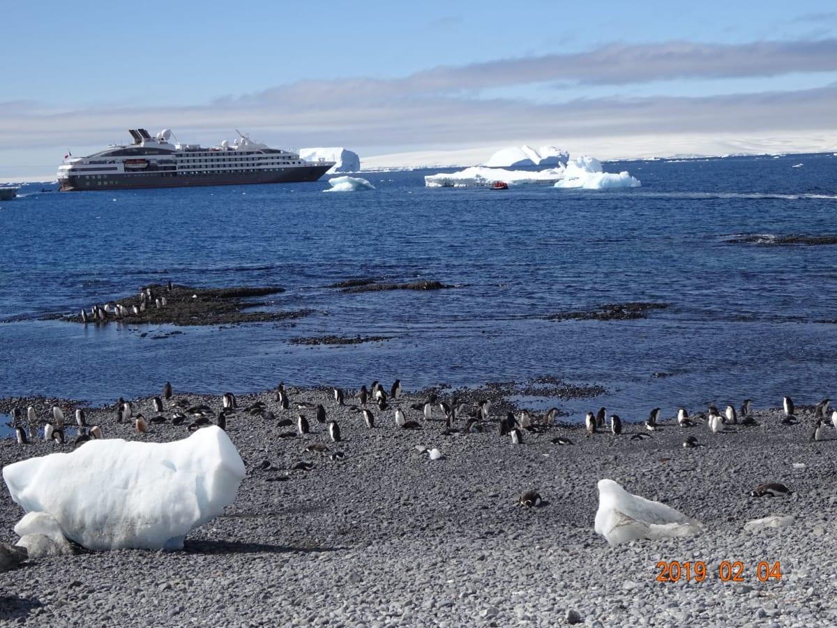 南極から船の眺め。