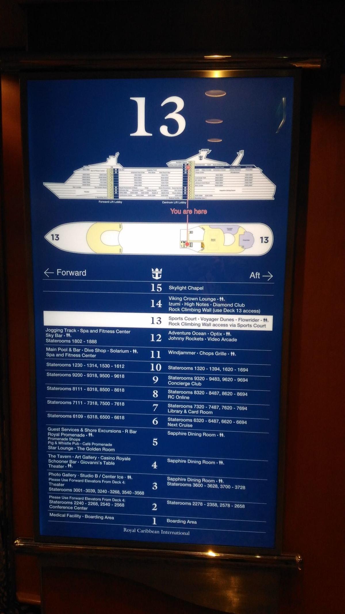 この船には、珍しく13階があるので、証拠写真。