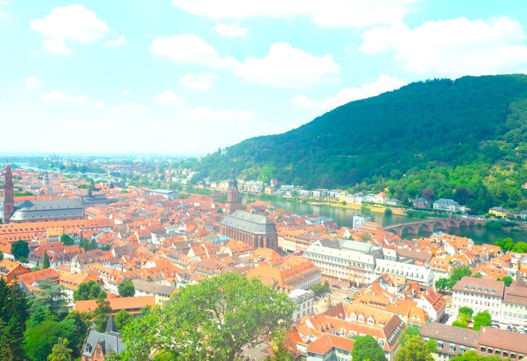 ハイデルベルク城から旧市街を眺めた景色