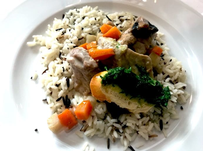 Authentic veal stew Pilaf rice and sliced carrots(仔牛のシチューとピラフ)