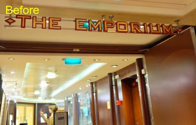 セレブリティ・オリジナルグッズショップやブランド・ショップの並ぶエリアの入り口