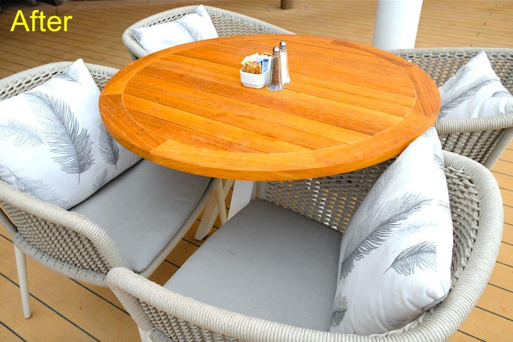 朝食ビュッフェはデッキの開放的な席で食べたい