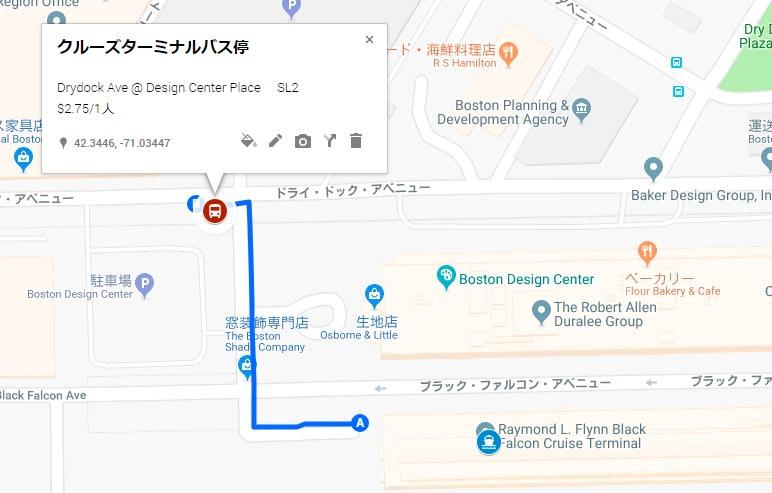 ターミナル~バス停までの地図