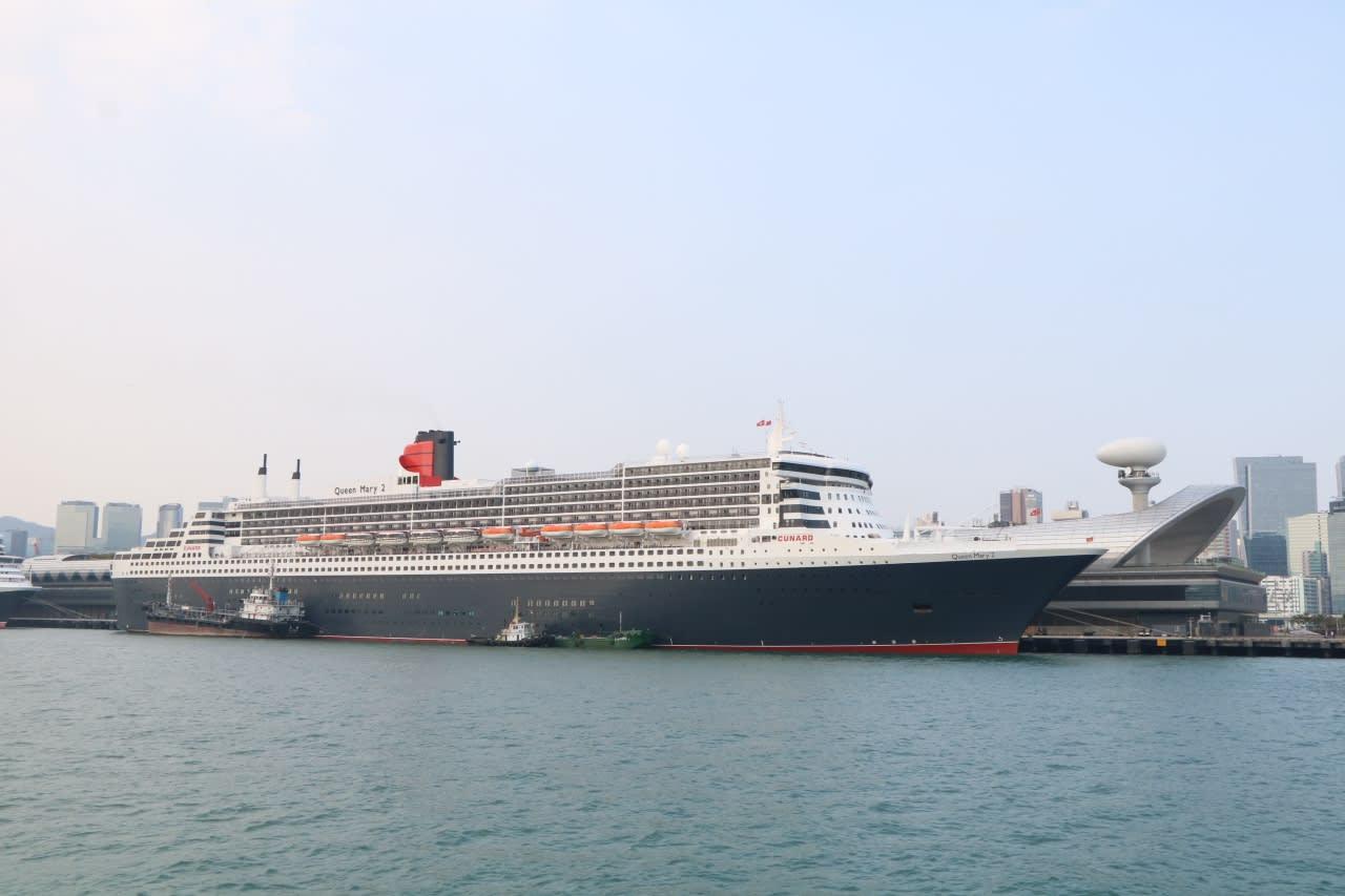 クイーンメリー2で行く東南アジア周遊クルーズ10日間の旅④QM2船体