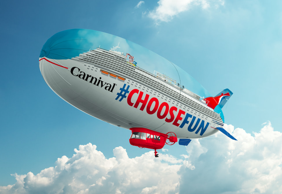 カーニバル、ホームポートを飛行船で周るキャンペーンを開催