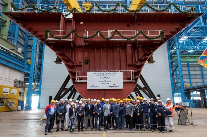 P&Oの最新客船「アイオナ」がマイヤーウェルフトで起工式