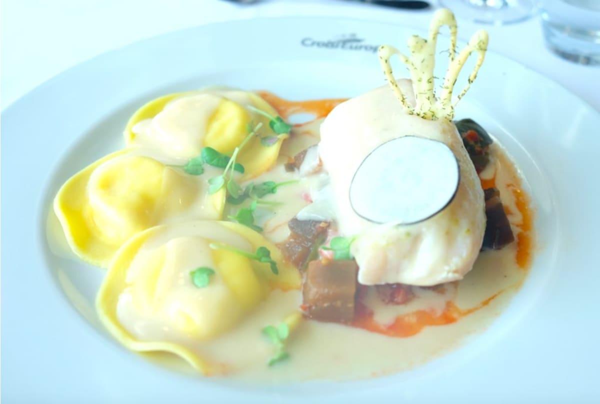 Cod fish filet in aniseed sauce Agnoletti stuffed with lobster,ratatouille(たらのアニスソースかけとロブスターのアグノロッティにラタトゥイユを添えて)