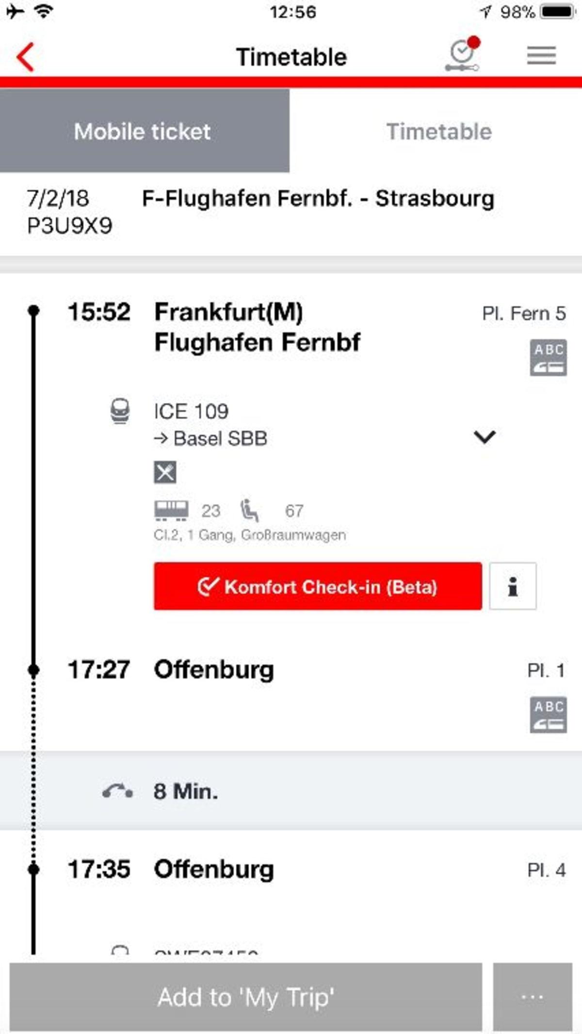 チケットの代わりにQRコードが発行されます。座席の指定もできますし、プラットフォームも表示されるので安心です。