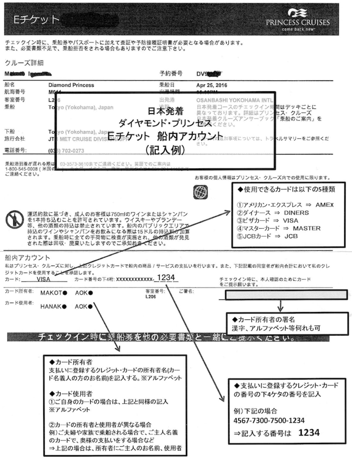 ダイヤモンドプリンセスのEチケット(乗船券)・バゲージタグ