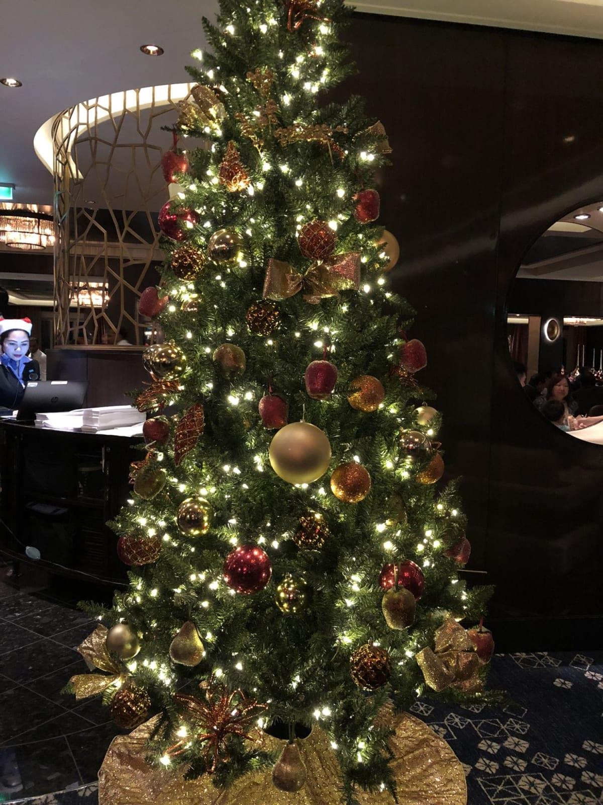 クリスマス時期だったのでたくさんのクリスマスツリー | 客船ノルウェージャン・ジョイの船内施設